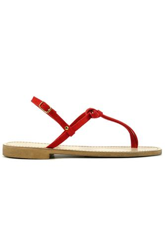 Sandal Red Suede Bow, LATIKA