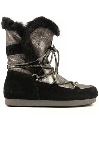 MOON BOOT the originalFar Side High Shear. Silver Sheepskin Black Seude