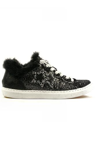 2SD Low Black Glittered Leather Fur, 2STAR