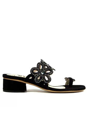 Thong Sandal Black Suede Strass, STEFANIA PELLICCI