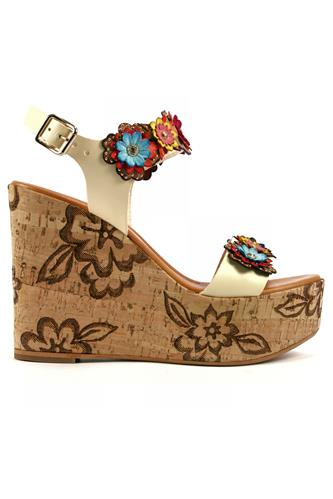 Cork Wedge Multicolor Flower White Soy Leather, STEFANIA PELLICCI