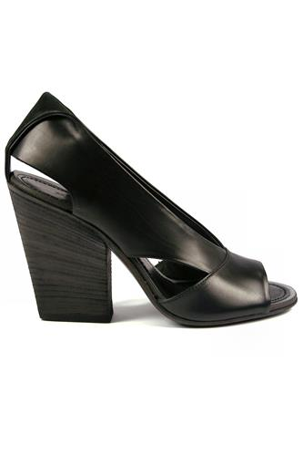 PANTANETTILumia Open Toe Black Leather