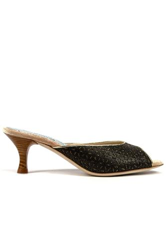 Alice Mule Black Cutted Leather Gold, MINA BUENOS AIRES