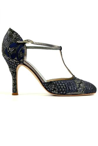 MINA BUENOS AIRESCarmen Blue Brocade Fabric Steel Leather