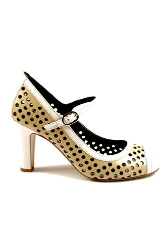 Sandal Perforated Leather Beige White, GAIA D'ESTE