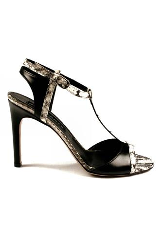 GAIA D'ESTESandal T-style Black Rock Leather