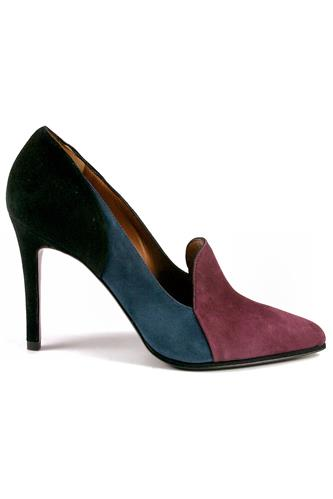 GIBELLIERISia Patchwork Suede Wine Blue Black