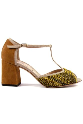 Sarah Yellow Cloth Almond Suede, MINA BUENOS AIRES