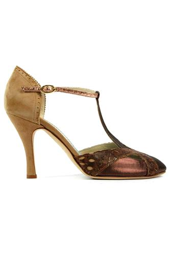 MINA BUENOS AIRESViola Choccolate Satin Rum Leather Sand Suede